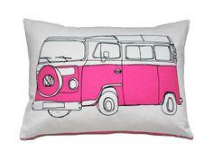 Pink Campervan Cushion Pillow. $59.00, via Etsy.