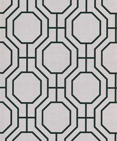 Master bedroom. Black white geometric wall paper.
