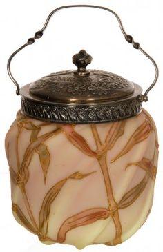 "5 1/4"" MT. WASHINGTON BURMESE ART GLASS COVERED JAR"
