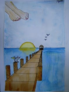 Stepping into perspective summer pier water Spring Art, Summer Art, 7th Grade Art, Perspective Art, Ecole Art, Art Lessons Elementary, Elements Of Art, Art Lesson Plans, Art Classroom