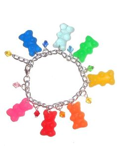 Multi Charm Gummy Bear Bracelet I would try to eat it