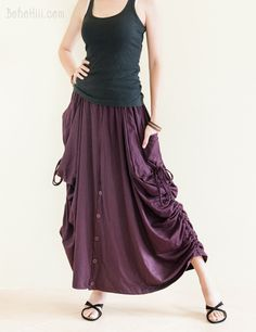 This skirt can be worn as straight long skirt, or pull up the side drawstrings to add the draping curtain effect. This skirt is convertible to wide leg pants! Skirt Pants, Dress Skirt, Bohemian Pants, Hippie Skirts, Split Skirt, Colourful Outfits, Diy Clothing, Boho Outfits, Wide Leg Pants