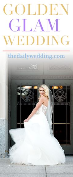 Gorgeous bride and wedding cake! View the full wedding here: http://thedailywedding.com/2016/06/26/golden-glam-wedding-kat-stu/