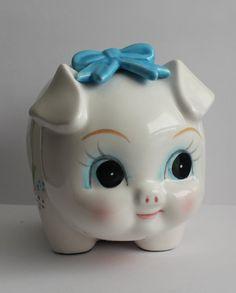 Vintage Lefton Ceramic Pig with Blue Bow Piggy Bank ~ Adorable! #Lefton