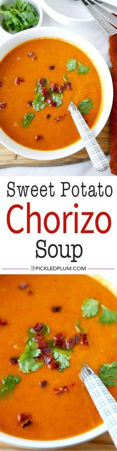Sweet Potato Chorizo Soup - Loaded with fall vegetables, this smoky Sweet Potato Chorizo Soup Recipe celebrates the changing seasons. Sweet potato soup never tasted so good!