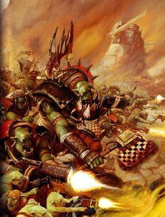 Ork mob attacking. (Codex cover art) by Karl Kopinski