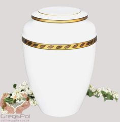 Beautiful White Metal Cremation Urn , Funeral Urn For Ashes (UMH1) - unique.urns_caskets