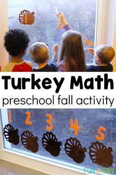 The easiest Thanksgiving math activity! This simple turkey number activity teaches a surprising number of skills that are essential for preschool. Great for in the classroom or homeschool! Preschool Teacher Tips, Fall Preschool Activities, Early Learning Activities, Number Activities, Numbers Preschool, Fun Math Games, Preschool Lesson Plans, Learning Numbers, Toddler Activities
