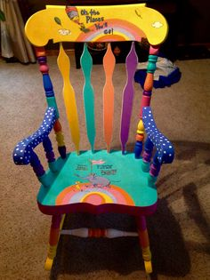 Dr.Seuss painted chair.