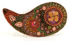 Paisley Bead Embroidered Brooch by beadn4fun on Etsy