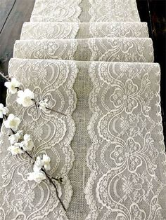 Wedding table runner with beige lace rustic chic wedding tablecloth, burlap and lace table runner- maybe make my own. Maybe replace burlap with another material Lace Table Runners, Burlap Table Runners, Table Decoration Wedding, Table Wedding, Table Decorations, Wedding Tablecloths, Burlap Tablecloth, Oblong Tablecloth, Doilies