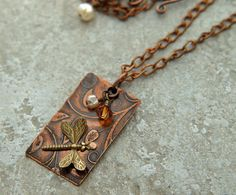 Etched copper with dragonfly necklace by DragonflyDreamers on Etsy,