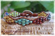 Elephant Bracelet/ Seed Bead Bracelet/ Leather Wrap Bracelet/