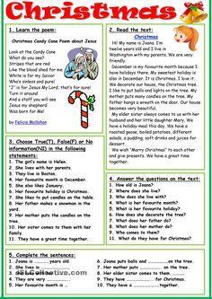 worksheet - Free ESL printable worksheets made by teachers English Games, English Activities, Christmas Worksheets, Christmas Activities, Teaching English Grammar, English Vocabulary, English Christmas, Christmas Fun, English Lessons