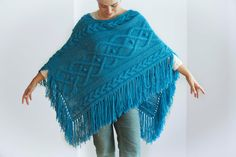 Blue Cable Knit Poncho - by afra on Etsy https://www.etsy.com/listing/83425898/blue-cable-knit-poncho