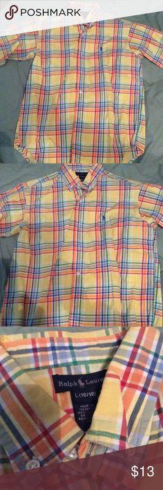 Polo Ralph Lauren Plaid Shirt Large (16-18) Big Boys Yellow plaid Shirt size Large 16-18. EUC Polo by Ralph Lauren Shirts & Tops Button Down Shirts