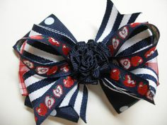 Red APPLE Back to School Girl Hair Bow Navy Polka by HareBizBows