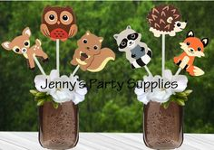 """Adorable wooden """"Woodland Animals"""" for your baby shower, your little one's birthday party or nursery decoration.  Animals available: Hedgehog, Squirrel, Owl, Fox, Raccoon, Deer.   I offer them on a stick or without a stick so that you may use them for centerpieces or diaper cakes."""