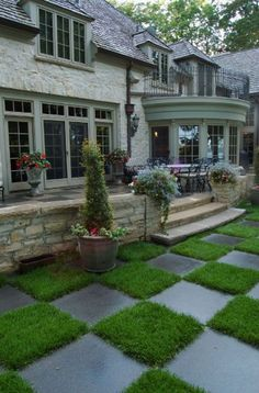 Backyard with checkerboard waking path: fun and whimsical;Hometalk :: Home Improvement Ideas, Photos and Answers