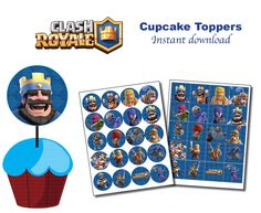 Clash Royale Cupcake toppers  -Printable - DIGITAL file (Non personalized)  Birthday party - INSTANT DOWNLOAD by doobykof on Etsy https://www.etsy.com/listing/546995103/clash-royale-cupcake-toppers-printable