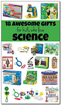 {Miles & Madeline} 18 of the best, most awesome gifts for kids who love science. Budding scientists ages 3 and up will find something to love among these awesome gifts for science-loving kids. Gadget Gifts For Men, Cool Gifts For Kids, Awesome Gifts, Science Activities For Kids, Preschool Science, Science Centers, Science Gifts, Elementary Science, Preschool Ideas