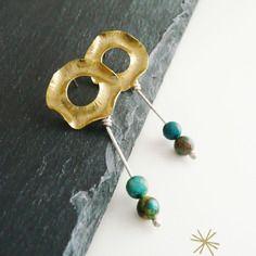 Fascinationstreet B-handmade: Orecchini a perno in ottone e argento e perle di diaspro