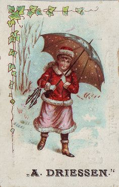 cacao driessen girl carrying open umbrella - winter scene by patrick.marks,