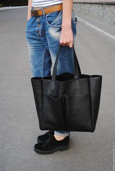 - черный, тоут, шоппер, женская сумка, сумка ручной работы, Кожаная сумка