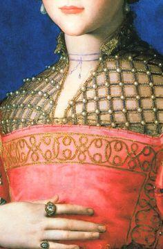 Eleonora de Toledo (detail) Agnolo Bronzino.
