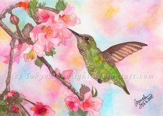 """""""Colibri"""" by TokyoMoonlight (Marcela),  watercolor,  DEVIANTART: http://tokyomoonlight.deviantart.com/ TUMBLR: http://tokyomoonlightart.tumblr.com/ #watercolor #painting #art"""