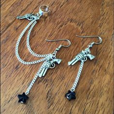 """Gun pistol star cartilage ear cuff Brand new ⭐️   SWAROVSKI CRYSTAL stars in black  Silver plated chain lengths 3"""" & 2 1/2"""" Surgical steel hypoallergenic fish hooks (can replace to ball studs, no charge) Handmade ❤️  ❤️❤️❤️❤️❤️❤️❤️❤️❤️❤️❤️❤️  Earrings jewelry cute boho cartilage piercings wings bohochic western country cowgirl Jewelry Earrings"""