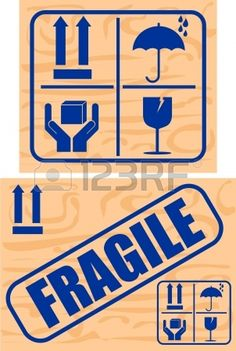 Fragile and Glass stickers