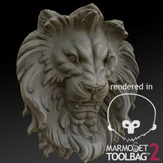 Lion Head Sculpture, Michal Mierzejewski on ArtStation at https://www.artstation.com/artwork/lion-head-sculpture