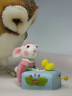 Peanut Bunner the bunny and Owl Needle Felted by barby303