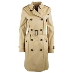 Burberry Burberry London Kensington Long Trench Coat Honey in beige,... (5.945 BRL) ❤ liked on Polyvore featuring outerwear, coats, beige, long trench coat, beige trench coat, checkered coat, beige trenchcoat and fitted coat
