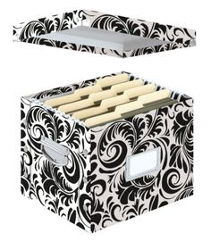 Snap-N-Store Letter-Size File Box, Accommodates Standard or Hanging File Folders, x x Inches, Black and White Scroll Design Hanging File Organizer, Hanging File Folders, File Organiser, Paper Storage, Storage Boxes, Storage Organization, Office Storage, Storage Ideas, File Folder Organization
