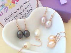 A beautiful, delicate pair of earrings made of freshwater pearl drops!  #earrings