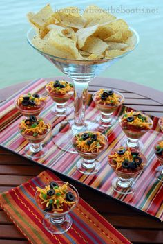Mini 7 layer Taco Dip appetizers. Love this.