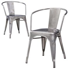 Carlisle Metal Dining Chair - Natural Metal (Set of 2)