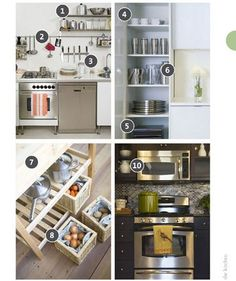 More Space in the Kitchen: Hang shelves on any free wall space Mount a knife strip/Pot hanger/Metal bar with S-hooks to hang spice rack/utensils Put empty corners to use Use boxes/baskets/Hang a wire basket from a plant hook to store things you don't use regularly or to hold non-refrigerated produce (garlic/onions/ginger) Mount shelves/small appliances, like microwave, under upper cabinets