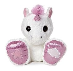 """Title: 10"""" Rainbow Unicorn Item Number: 16334 Weight: 0.60 lb 10"""" RAINBOW UNICORN is a super cute white and pink unicorn with big sparkly feet; star embroidered on one, a cloud on the other! Taddle To"""