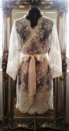 French Lace robe/ dressing gown in Kate Middleton by AmiElisah, £516.00
