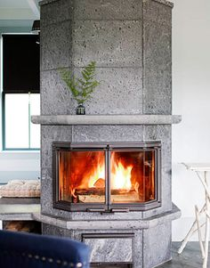 Soap stone fireplace captures the heat and radiates it over time, 16th century innovation...