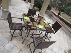 Save on 5pc Outdoor Hand Woven Wicker Bar Set - Swivel - TrackIf