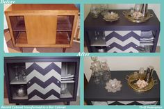 Thrift Store Record Cabinet transformed into a Bar Cabinet. Charcoal Gray & taupe gray colors. Chevron Pattern on door.