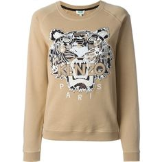 Kenzo Tiger Sweatshirt (7 585 UAH) ❤ liked on Polyvore featuring tops, hoodies, sweatshirts, sweat tops, sweatshirt hoodies, brown sweatshirt, sweat shirts and embroidered sweatshirts