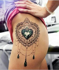 45 Badass Thigh Tattoo Ideas for Women Side Thigh Heart Mandala Tattoo Design Love the tattoo, not the placement 15 Bad-Ass Thigh Tattoo Cool Thigh Tattoos forHorny Thigh Tattoos For G Gem Tattoo, Jewel Tattoo, Lace Tattoo, Tattoo Sleeves, Mandala Tattoo Design, Tattoo Designs, Mandala Hip Tattoo, Tattoo Circle, Design Tattoos