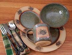 rustic dinnerware sets clearance | ... » Rustic Cabin & Lodge Dinnerware » Rustic Pinecone Dinnerware Set