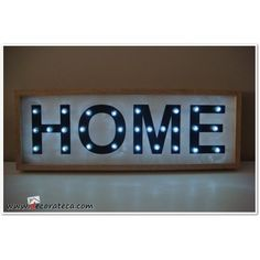 "Cartel luminoso led ""Home"". Decoración con rótulos y carteles luminosos - WWW.DECORATECA.COM"