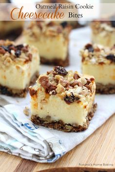 Oatmeal Raisin Cookie Cheesecake Bites Recipe ~ Oatmeal raisin cookie dough pressed evenly on the bottom of the pan as a crust for the creamy, rich cheesecake and crumbled topping